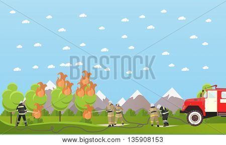 Fire fighting department vector banner. Firefighters extinguish the fire in a forest.