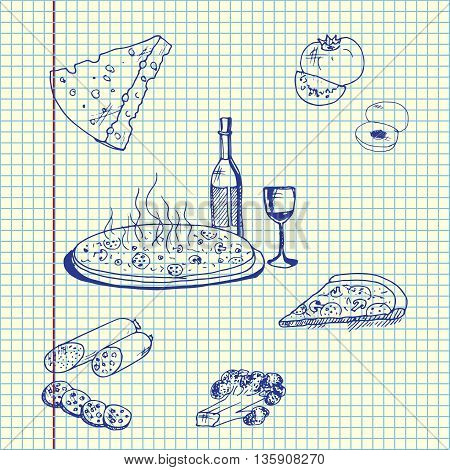 Pizza with food. Hand drawn vector stock illustration. Sheet ballpen drawing.