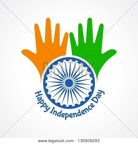 Independence Day greeting with hand stock vector