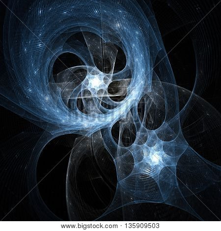 Starry Nebula. Attraction of two nuclei. Sacred geometry. Mysterious psychedelic relaxation pattern. Fractal abstract texture. Digital artwork graphic design astrology alchemy magic.