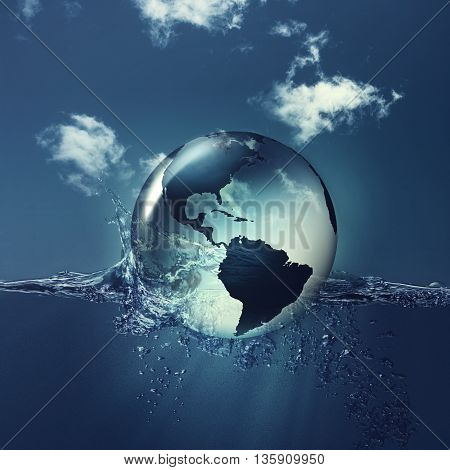 Save the planet. Earth globe on the water waves abstract natural backgrounds