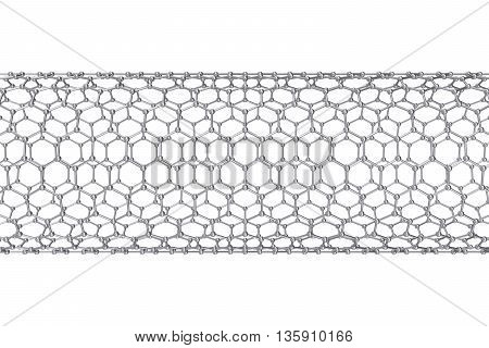 The structure of the graphene tube of nanotechnology 3d illustration