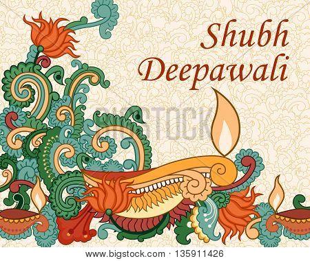 Vector design of Diwali decorated diya in Indian art style wishing Shubh Deepawali Happy Diwali