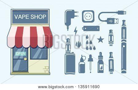 Vape shop logo. Colorful vector stock illustration