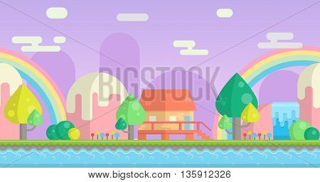 Seamless parallax effect ready fantasy mountain background for mobile apps and design. Sunny bright landscape with mountains, little house, waterfalls and river.