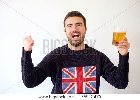 Happy England Team Supporter With Glass Of Beer