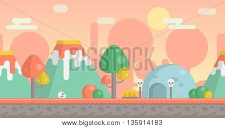 Seamless parallax effect ready prehistoric stone age background for mobile apps and design. Ancient tribal landscape with volcanos, fantasy plants, cave, fireplace and sculls. poster