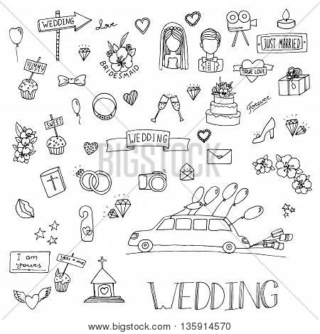 Wedding set icon. Hand drawn vector stock illustration. Black and white whiteboard drawing.