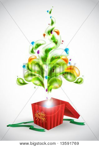 Abstract Christmas Tree Popping Out from Gift Box