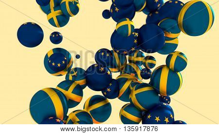 Large group of orbs or spheres levitation in empty space. 3D rendering. Sweden and European Union flags