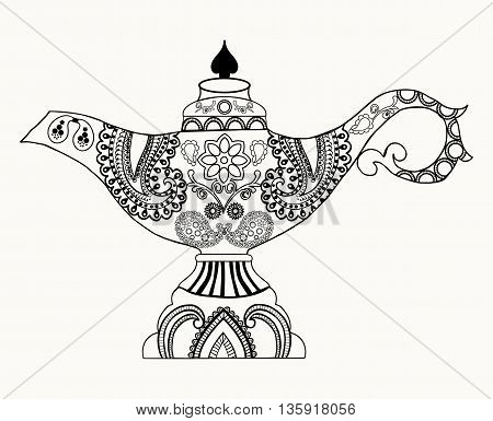 Alladin Magic Lamp line art design for coloring book for adult tattoo T- Shirt graphic cards and so on. Old style oil lamp illustrator