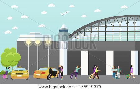 Taxi service company vector concept banner. People catch taxi in airport. Passengers in taxi car.