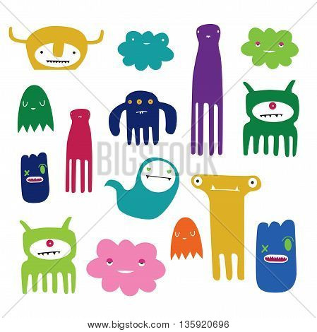 Collection of little colored monster's and ghosts