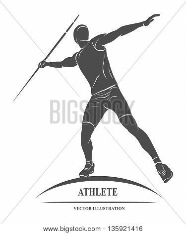 Athlete throwing javelin Throw spears icon. Vector illustration
