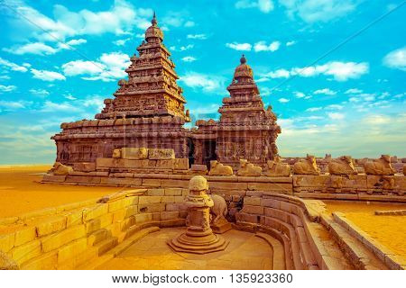 Fantastic Art Design Of Monolithic Famous Shore Temple Near Mahabalipuram, World Heritage Site In Ta