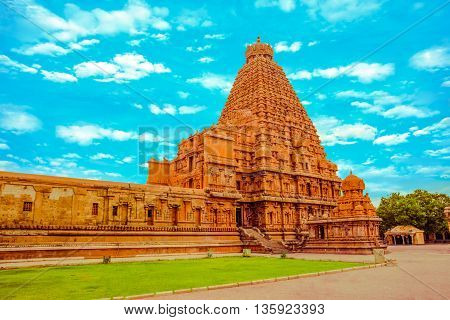 Fantastic Art Design Of View At Tower Hindu Brihadishvara Temple, India, Tamil Nadu, Thanjavour,  (t