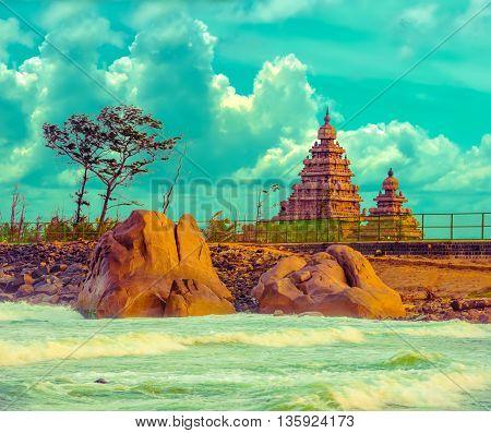 Fantastic Art Design Of Beautiful Landscape  Monolithic Famous Shore Temple Near Mahabalipuram And I