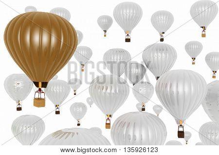Hot air balloons. 3D rendering