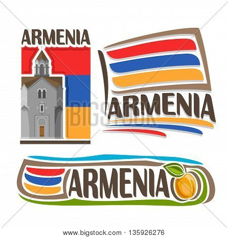Vector logo for Armenia, 3 isolated illustrations: Haghpat Monastery on background of national state flag, symbol of Republic Armenia and armenian flag beside apricot with green leaf close-up