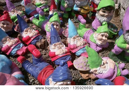 A group of small garden gnomes scattered on the ground take a number of different positions - some sleeping some lying down and some sitting.