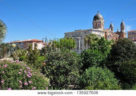 Saint Raphael; France - april 14 2016 : view of city center