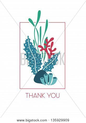 Vector hand drawn greeting card underwater bouquet of seaweeds with text Thank you. Ocean or sea theme.
