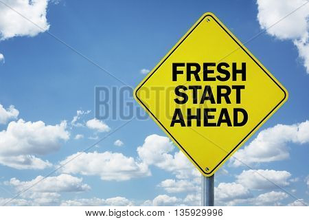 Fresh start ahead road sign concept for business opportunity, future and new career