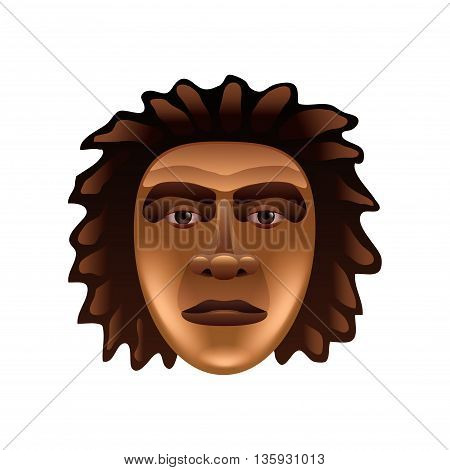 Prehistoric man face isolated on white photo-realistic vector illustration