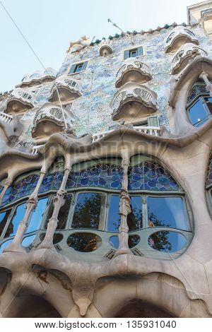 Casa Batllo in Barcelona Spain. This famous building was designed by Antoni Gaudi and is one of the most visited of the city