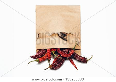 Chilli Pepper In Paper Isolated