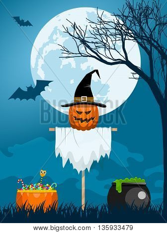 Classic Halloween design with a scarecrow witch caldron candies and bats flying at the full moon
