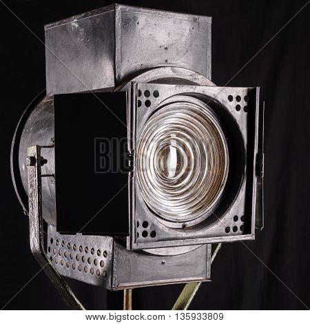 Old Studio Light On Movie. Fresnel Lens