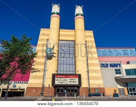 CALGARY, CANADA - JUNE 5: Cineplex movie theatre at Chinook Centre mall on June 5, 2016 in Calgary, Alberta Canada. Chinook mall is one of the busiest malls in Alberta and Canada.
