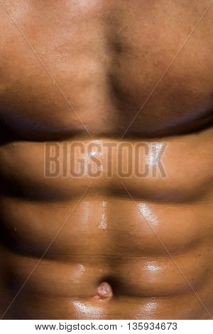 sexy muscular male torso six packs on wet body of athletic man training with bare strong chest closeup