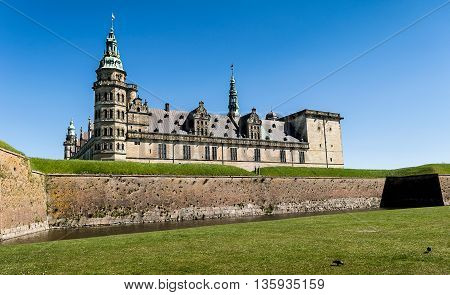 Kronborg Castle, residence of Hamlet, settled in a town Helsingor, north of Copenhagen, Denmark poster