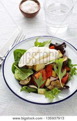 Warm salad with grilled vegetables and mozarella