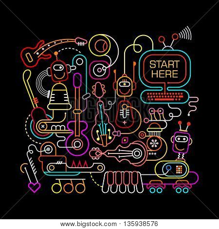 Neon colors on a black background Futuristic Recording Studio vector illustration. Abstract line art composition.