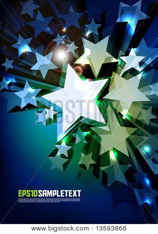 Vector 3D Vector Stars Glowing in the Dark