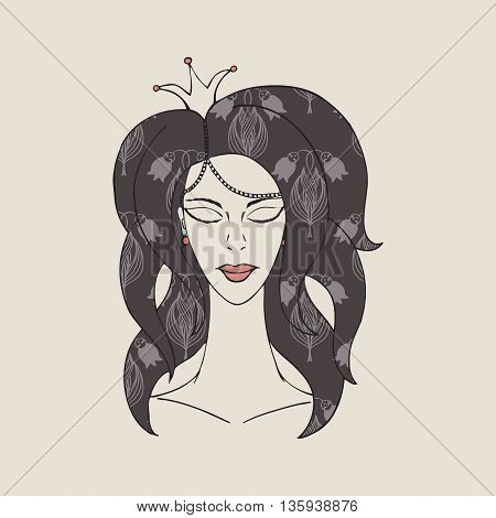 princess with crown with eyes closed on a beige background.