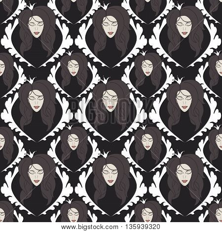seamless pattern with princess with crown with eyes closed.