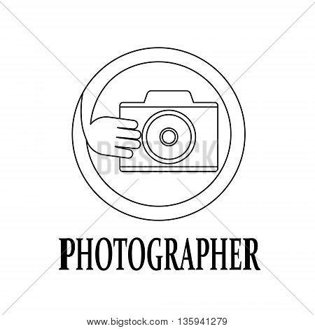 Modern logo for photographer. Thin black line. Vector illustration