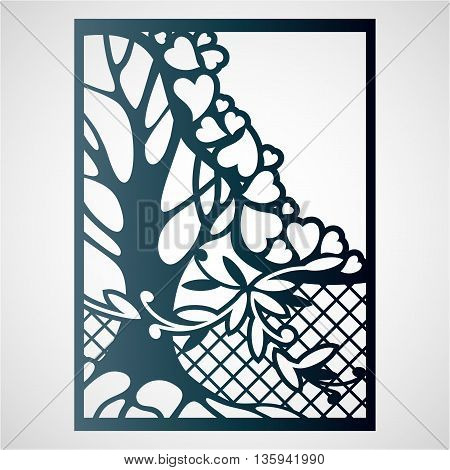 Openwork card with tree and hearts. Laser cutting template for greeting cards envelopes wedding invitations.