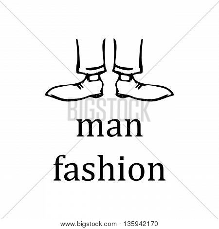 Men's feet in shoes on a white background. vector. sing.