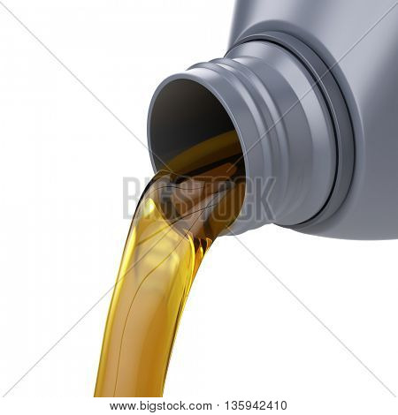 Pouring oil from a jug isolated on white. 3d render