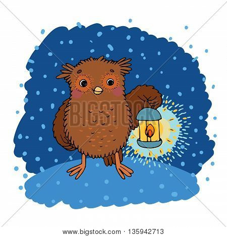 Cute cartoon Owl with a lantern.Autumn. Hand drawing