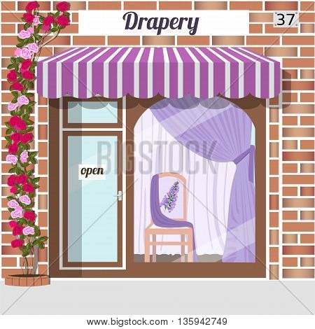 Drapery store. Facade of red brick. Chair with flower pattern and purple curtains in window. Vector illustration. EPS 10