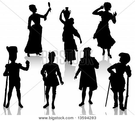 Silhouette of the actors