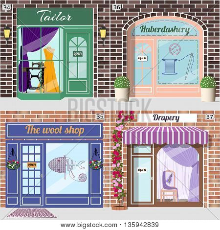 Set of shops. Tailor with dummy in evening dress and treadle sewing machine in window.Haberdashery with spool with threads, sewing button and needle sticker on window. Wool shop.Drapery shop with chair with flower pattern and purple curtains in window. Ve