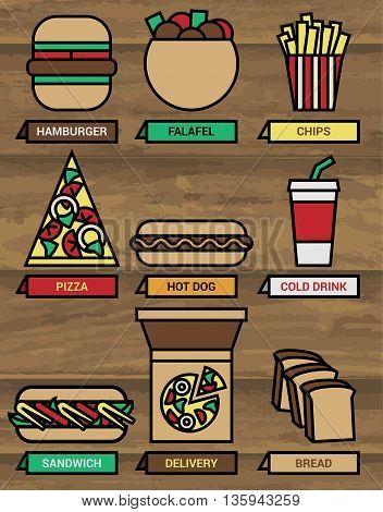 Fast food icons set with flat retro design on wood background in vector format