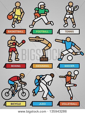 Set one includes nine icons of people doing sport in vector format